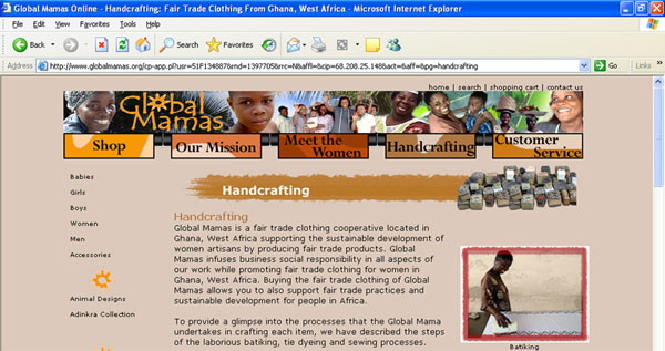 Global Mamas Handcrafting Website