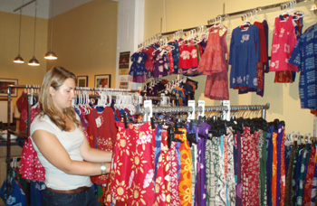 A customer shops at the Global Mamas' Second Saturday sale in Minneapolis, MN.