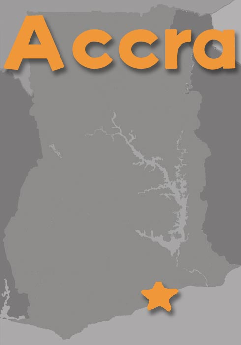 Map of Ghana featuring Accra