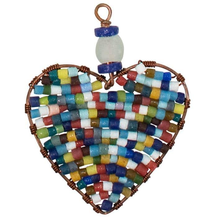 Rainbow heart ornament, bead detail