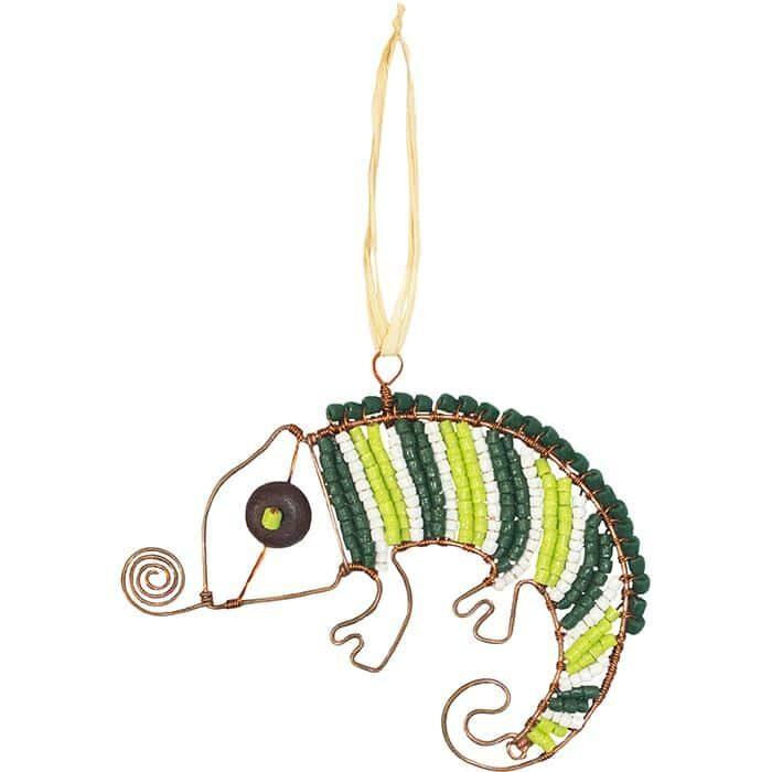 Green chameleon ornament