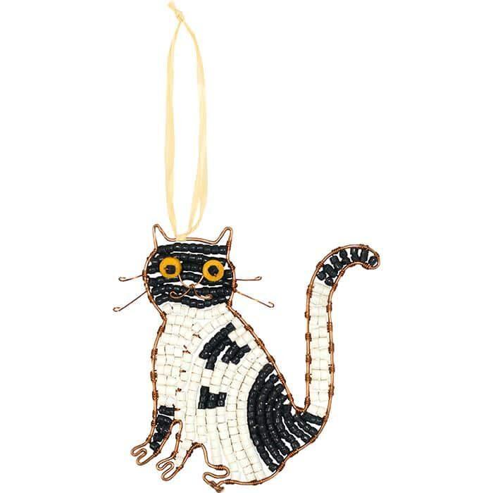 Black and white tuxedo cat ornament