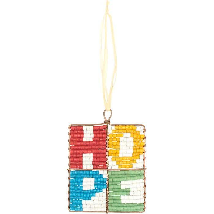 Multicolored mosaic-block ornament, lettered H.O.P.E.