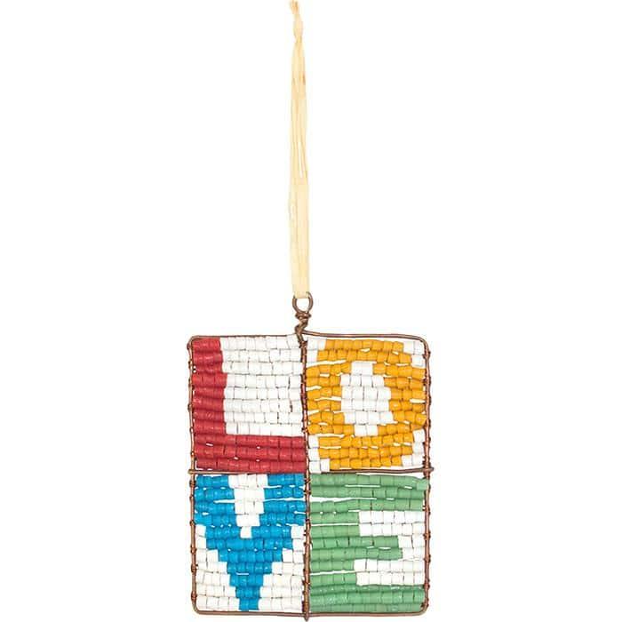 Multicolored mosaic-block ornament, lettered L.O.V.E.