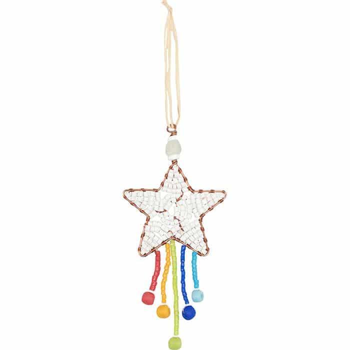 Rainbow shooting star ornament