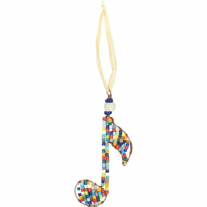 Single rainbow musical note ornament